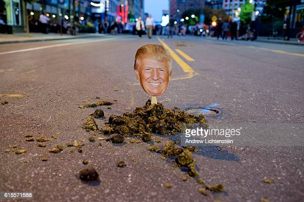 Outside of the Republican Convention set to nominate Donald Trump a protestor has placed his image in a pile of horse manure in Cleveland Ohio on...