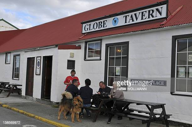Outside one of the most popular bars in Port Stanley on January 22 2012 in Port Stanley Falklands Islands