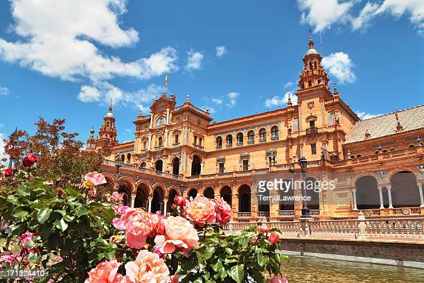 outside picture of plaza de espa in seville, spain - seville stock pictures, royalty-free photos & images