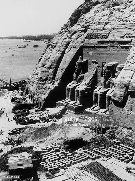 Outside shot of the great temple of Abu Simbel with its facade decorated with statues of Pharaoh RAMSES II on September 19 1968 At the foot of the...