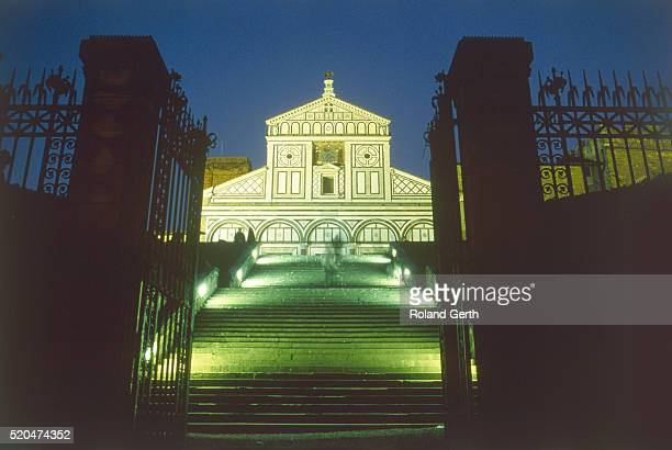 outside staircase to the church san miniato al monte in florence (italy) at night - san miniato stock pictures, royalty-free photos & images