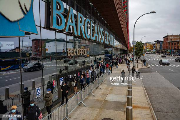 Outside the Barclays Center in Brooklyn lines stretched for blocks when an early voting began in New York thousands waited hours to cast their vote...