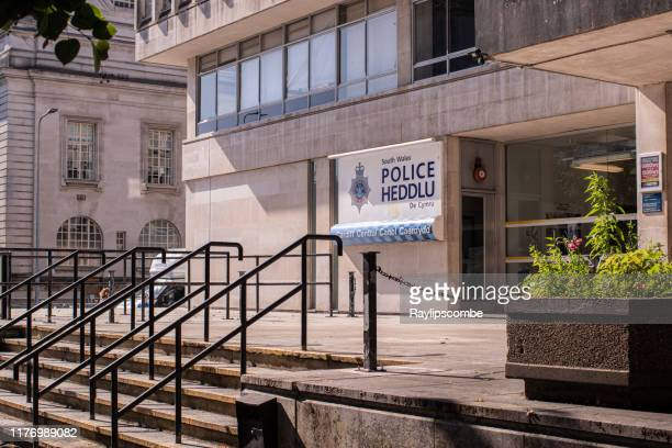 outside the cardiff central police headquarters on king edward vii avenue - south wales stock pictures, royalty-free photos & images
