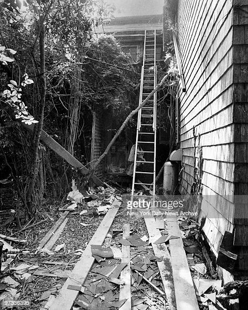 Outside the home Edith Bouvier Beale at West End Road in East Hampton LI Ladder leads up to roof which is under repair