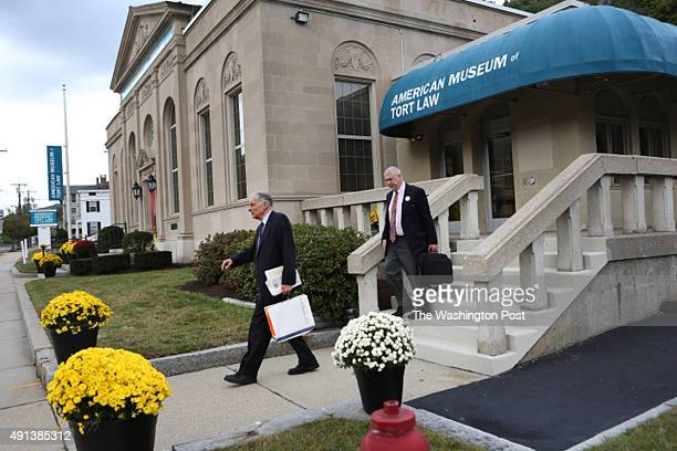 Outside the newly opened American Museum of Tort Law in Winston Ct Ralph Nader and museum president Rick Newman leave for the day Newman gave Nader a...