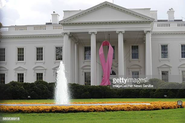 Outside the North Portico hangs a giant pink ribbon in honor of Breast Cancer Awareness Month