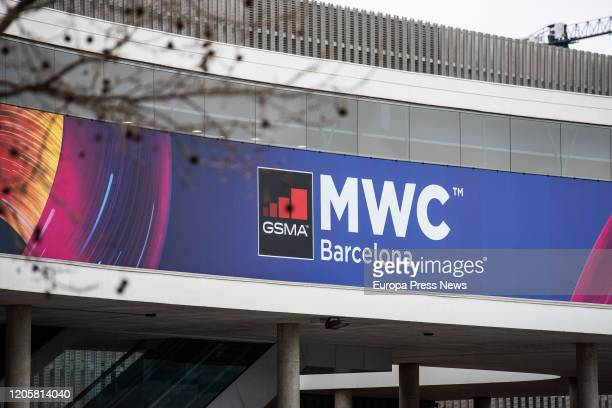 Outside the pavilion of the cancelled Mobile World Congress event, on the same day that the GSMA, the association organizing the MWC, has reported...