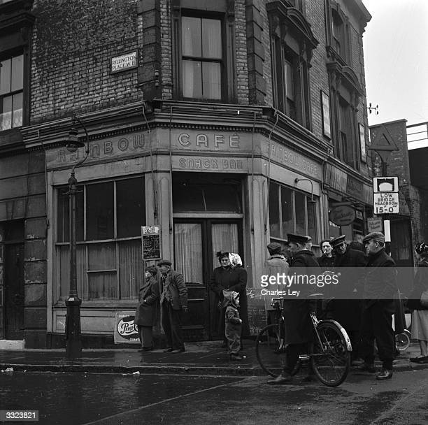 Outside the Rainbow Cafe situated on the corner of Rillington Place where Reginald Christie murdered his victims