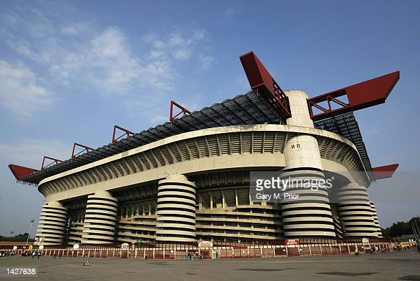 Outside the San Siro Stadium before the UEFA Champions League match between AC Milan and RC Lens held at the Giuseppe Meazza San Siro Stadium in...