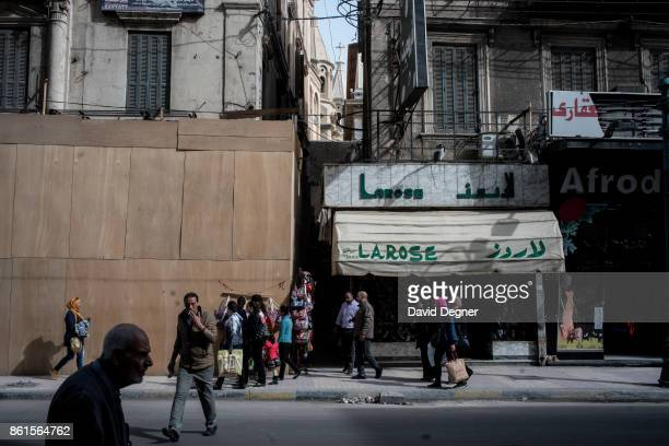 Outside the St Marks church where a bomb exploded during Palm Sunday Services on April 12 2017 in Tanta Egypt The Churches cross can be seen between...