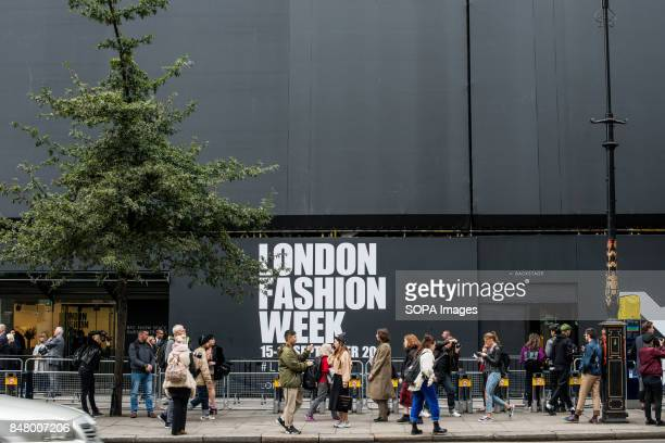 Outside the the BFC Showspace the venue of the London Fashion Week Running over five days the event sees designers showcase their Autumn/Winter 2018...