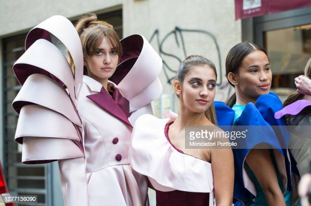 Outside the Valentino's fashion show in Milan at the industrial spaces of the Macchi's Foundry in Milan. Milan , 27 September 2020