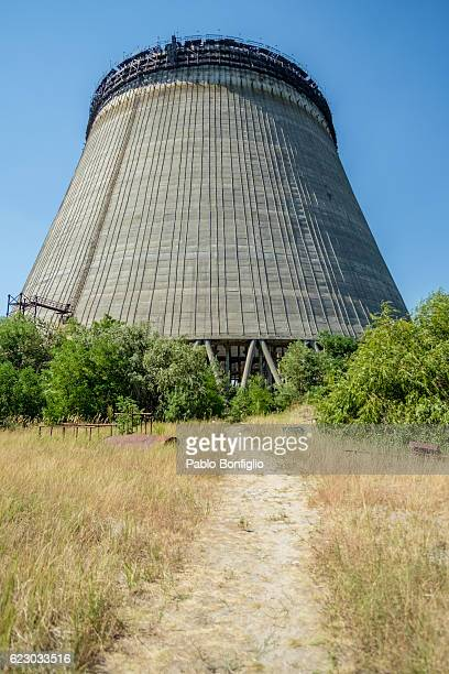 Outside unfinished cooling tower in the Chernobyl Exclusion Zone, Pripyat, Ukraine