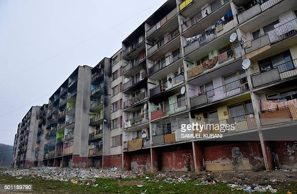 Outside view of a residential building that houses roma in the Lunik IX borough of Kosice eastern Slovakia on December 11 2015 AFP PHOTO / SAMUEL...