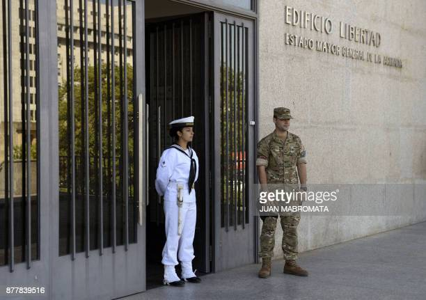 Outside view of Argentine Navy headquarters in Buenos Aires where Argentine Navy spokesman Captain Enrique Balbi delivered a press conference...