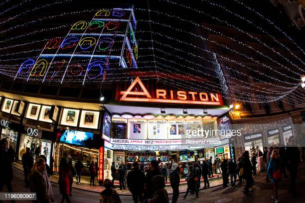 Outside view of Ariston Theatre on December 26, 2019 in Sanremo, Italy.