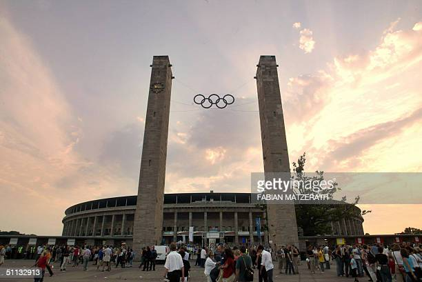 Outside view of Berlin's Olympic Stadium on the evening of its official inauguration 31 July 2004 The stadium renovated at a cost of approx EUR 242...