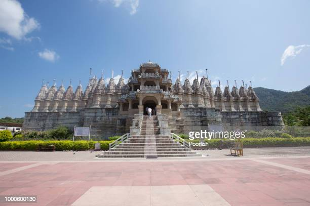 outside view of jain temple ranakpur - jain temple stock photos and pictures