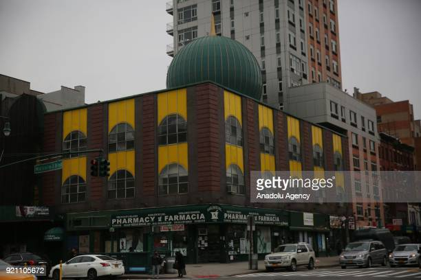 Outside view of Malcolm X Mosque originally called Masjid Malcolm Shabazz ahead of 53rd anniversary of Malcolm X's assassination in Harlem...