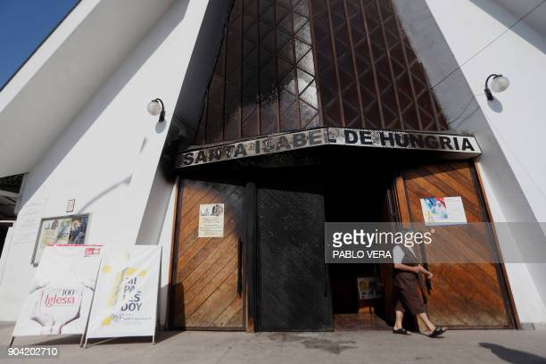 Outside view of Santa Isabel de Hungria church in Santiago where an attack with an incendiary device occured and a threating message against the...