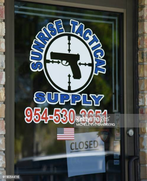 Outside view of Sunrise Tactical Supply store in Coral Springs Florida on February 16 2018 where school shooter Nikolas Cruz bought his AR15 to gun...