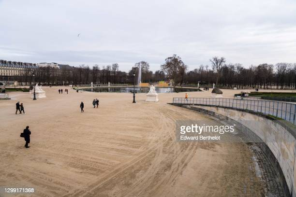 Outside view of the empty Tuileries Garden, during Paris Haute Couture Spring/Summer 2021 Collection, as part of Paris Fashion Week on January 26,...