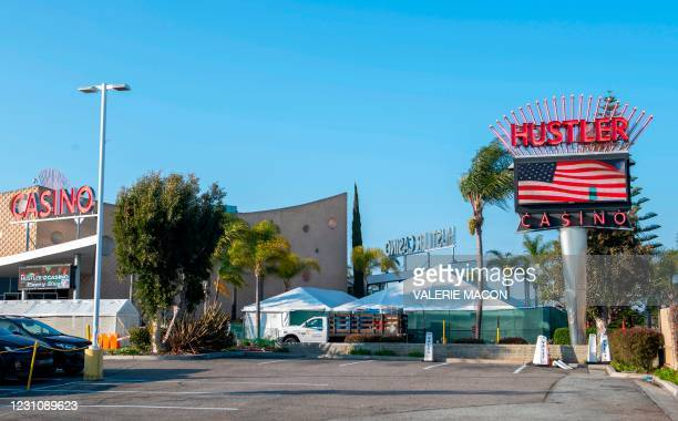 Outside view of the Hustler Casino on February 10, 2021 in Gardena, a city the South Bay region of Los Angeles County, California. - US porn mogul...