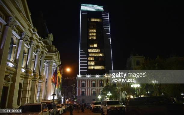 Outside view of the new Bolivian government palace the 'Casa Grande del Pueblo' in downtown La Paz during its inauguration on August 09 2018 The...