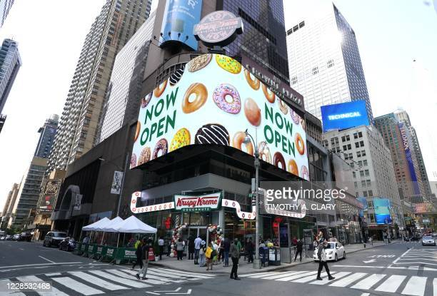 Outside view of the new Krispy Kreme flagship store amid the coronavirus pandemic in Times Square, New York, September 15, 2020. - The 4,500...