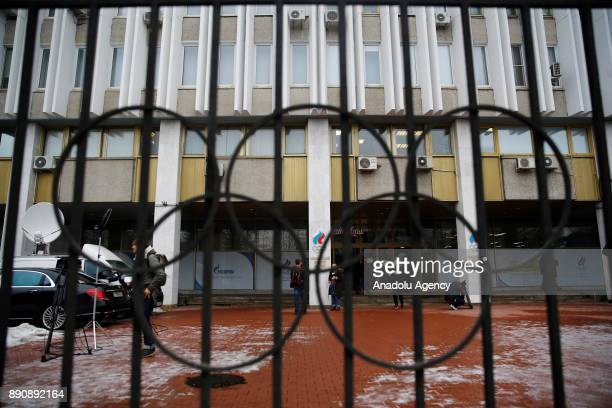 Outside view of the Russian Olympic Committee building during a session to discuss the IOC decision to suspend the Russian Olympic Committee and let...