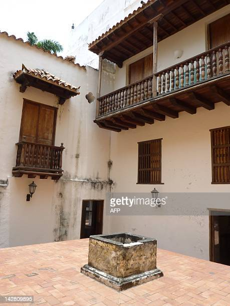 Outside view of the socalled El Aljibe where heretics were imprisoned at the Inquisition Museum in Cartagena Colombia on April 12 2012 The Spanish...