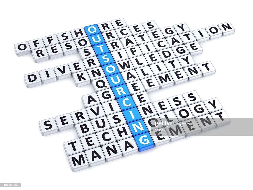 Outsourcing crossword : Stock Photo