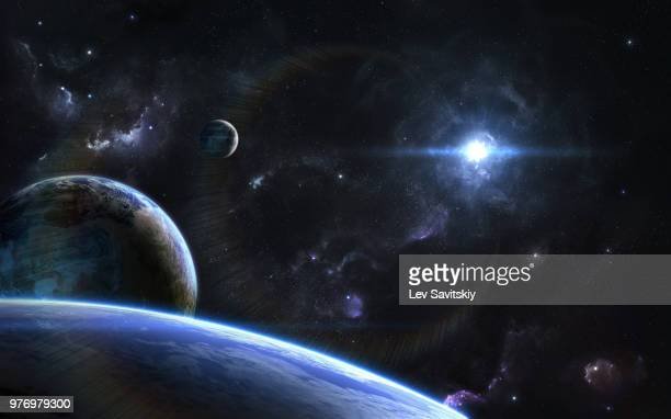 outspace orbital view on alien planets and moons - galaxy stock pictures, royalty-free photos & images