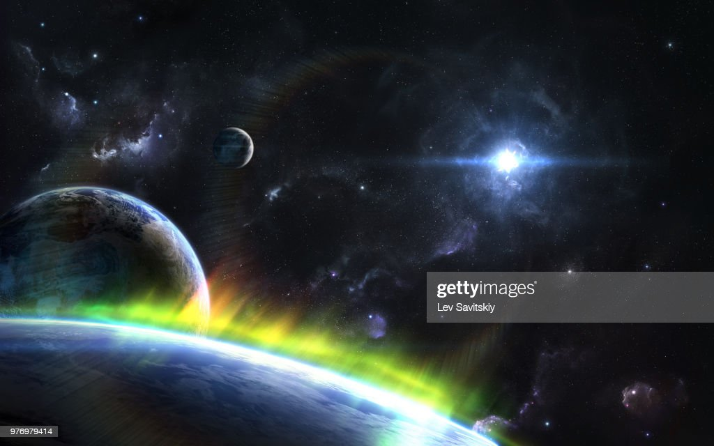 Outspace orbital view on alien planets and moons with Auroras : Stock Photo
