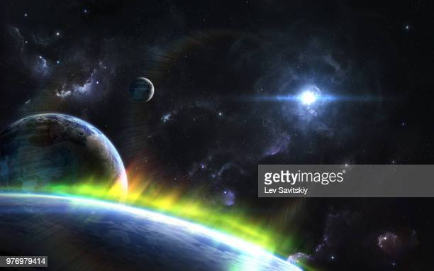 outspace orbital view on alien planets and moons with auroras - space exploration stock pictures, royalty-free photos & images