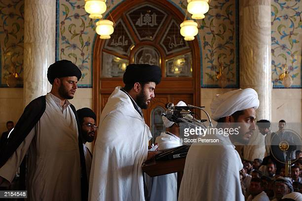 Outspoken Iraqi sheikh Muqtada alSadr delivers Friday prayers on July 11 at the mosque in Kufa near Najaf where his father Mohamed Sadeq alSadrone of...