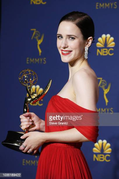 Outstanding Actress in a Comedy Series Rachel Brosnahan poses in the press room during the 70th Emmy Awards at Microsoft Theater on September 17 2018...