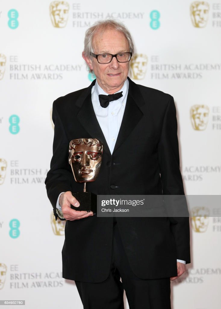 Outstanding British Film winner director Ken Loach poses with his award in the winners room during the 70th EE British Academy Film Awards (BAFTA) at Royal Albert Hall on February 12, 2017 in London, England.