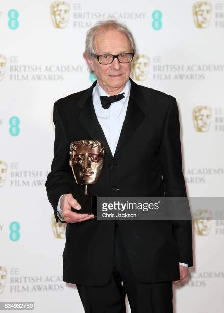 Outstanding British Film winner director Ken Loach poses with his award in the winners room during the 70th EE British Academy Film Awards at Royal...