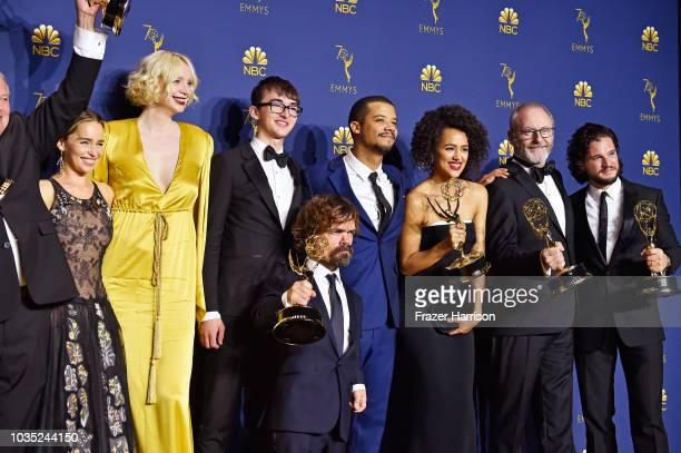 Outstanding Drama Series winners Emilia Clarke Gwendoline Christie Isaac Hempstead Wright Peter Dinklage Jacob Anderson Nathalie Emmanuel Liam...