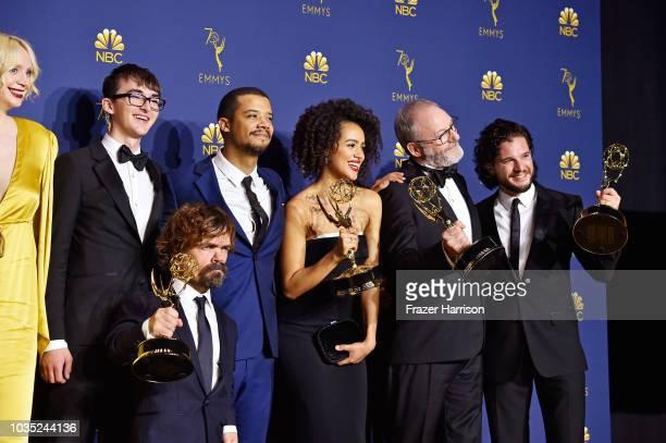 Outstanding Drama Series winners Gwendoline Christie Isaac Hempstead Wright Peter Dinklage Jacob Anderson Nathalie Emmanuel Liam Cunningham and Kit...
