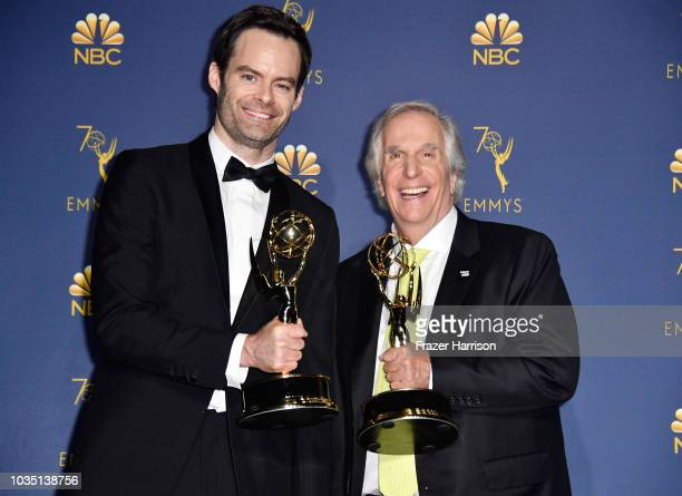 Outstanding Lead Actor in a Comedy Series Bill Hader and Outstanding Supporting Actor in a Comedy Series Henry Winkler pose in the press room during...
