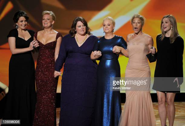Outstanding Lead Actress in a Comedy Series nominees Tina Fey Martha Plimpton Melissa McCarthy Amy Poehler Edie Falco and Laura Linney onstage during...