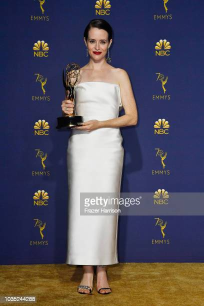 Outstanding Lead Actress in a Drama Series Claire Foy poses in the press room during the 70th Emmy Awards at Microsoft Theater on September 17 2018...