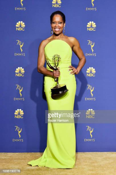 Outstanding Lead Actress in a Limited Series or Movie Regina King poses in the press room during the 70th Emmy Awards at Microsoft Theater on...