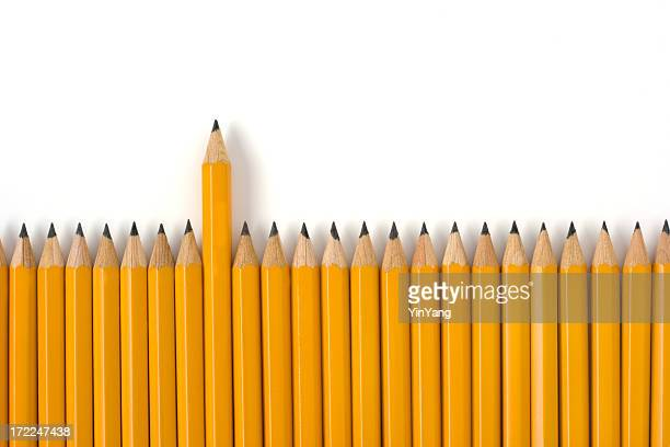 Outstanding Leadership Sharp Yellow Pencil with Individuality on White Background