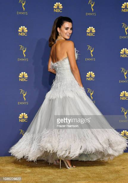 Outstanding Limited Series winner Penelope Cruz poses in the press room during the 70th Emmy Awards at Microsoft Theater on September 17 2018 in Los...