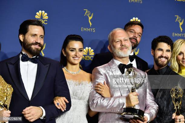 Outstanding Limited Series winners Edgar Ramirez Penelope Cruz Ryan Murphy Ricky Martin and Darren Criss pose in the press room during the 70th Emmy...
