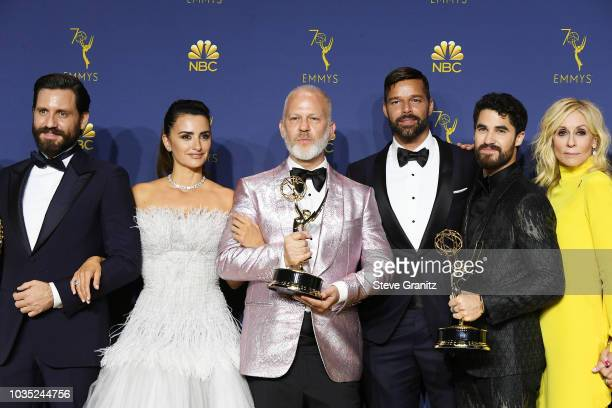 Outstanding Limited Series winners Edgar Ramirez Penelope Cruz Ryan Murphy Ricky Martin Darren Criss and Judith Light pose in the press room during...