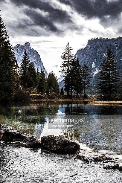 outstanding mountain scenic view on the alps - toblach stock photos and pictures